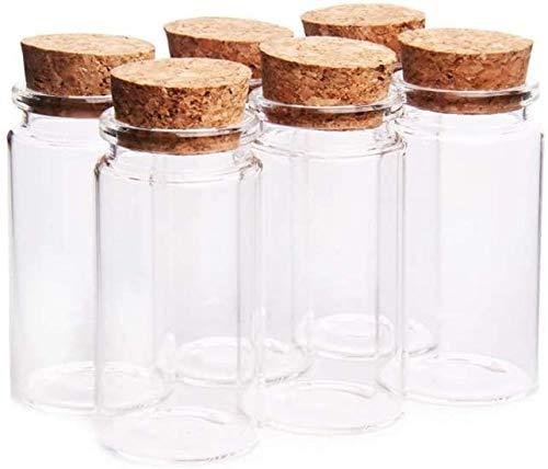 Annfly 6 botellas de cristal transparente con tapones de corcho para manualidades, decoración de bodas, regalos, joyas, fiestas, regalos (120 ml)
