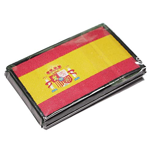 Parche Bordado Bandera España con Velcro con Colores Oficiales - Escudo bordado - Parches Moteros Bordados - Parches Militares - Parche Crossfit -75 x 50 mm