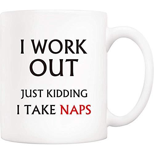 Citaat koffiemok, Ik werk uit gewoon Kidding Ik neem Naps Novetly Keramische Bekers 11Oz, voor Vrouwen, Mannen