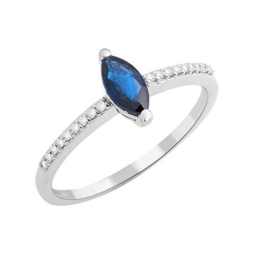 Moire Ring für Damen aus 9 Karat 375 Weißgold mit 0,07 Carat Naturdiamanten und 0,45 Karat Marquise-Saphir