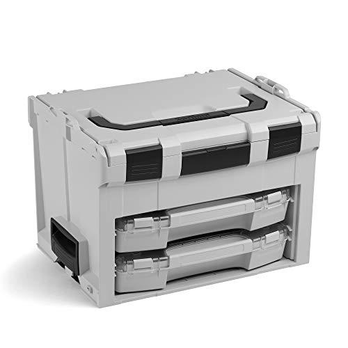Bosch Sortimo LS BOXX 306 | inkl. i-BOXX 72 H3 & i-BOXX 72 I3 in Lichtgrau | Professioneller Werkzeugkoffer leer | Werkzeugkiste leer Kunststoff