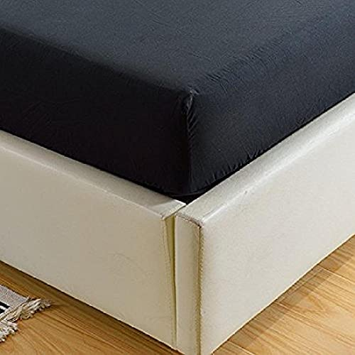 XGguo Protector de colchón/Cubre colchón Acolchado, Ajustable y antiácaros. Sábana Individual Pure Color Todo Incluido-Negro_99x190 + 35cm