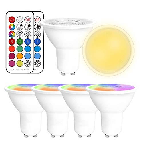 YAYZA! 4er-Pack Premium Dimmbar GU10 6W RGB + Warmweiß 3000K Farbwechsel IR Fernbedienung LED-Strahler Downlight Glühbirne