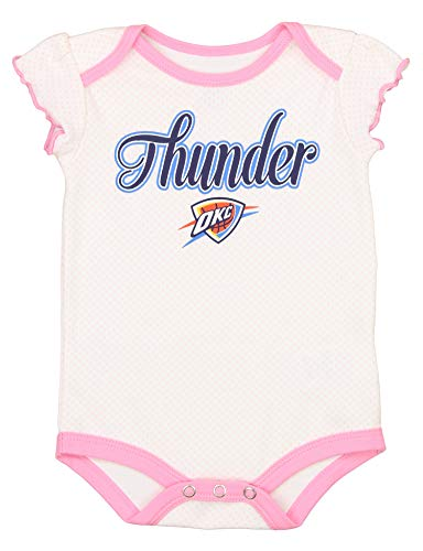 Outerstuff NBA Baby Girls Infant/Newborn 3-Piece Creeper Set, Oklahoma City Thunder, 0-3M