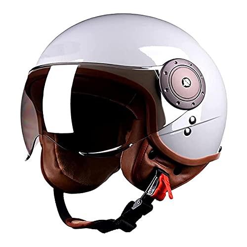 BHDYHM VIIPOOUnisex Retro Motorcycle Scooter-Scooter-Casco Dot/ECE Certificación Jet-Casco De Jet con Sun Visor Moped Cycling Bike Helmets,D-58~60cm