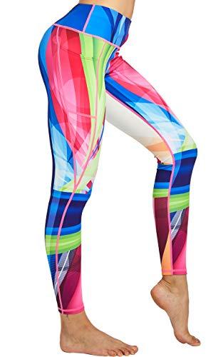 COOLOMG Sport Damen Leggings Yoga Hose Sporthose Fitnesshose Laufhose lang mit Taschen Regenbogen M