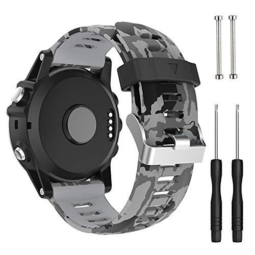 Cytech Pulsera para Garmin Fenix 5X/Fenix 5X Plus/Fenix 6X/Fenix 6X Pro/Fenix 3/Fenix 3 HR, Coloridos Reloj Silicona Reemplazar Banda Pulsera (Gris Camuflaje)
