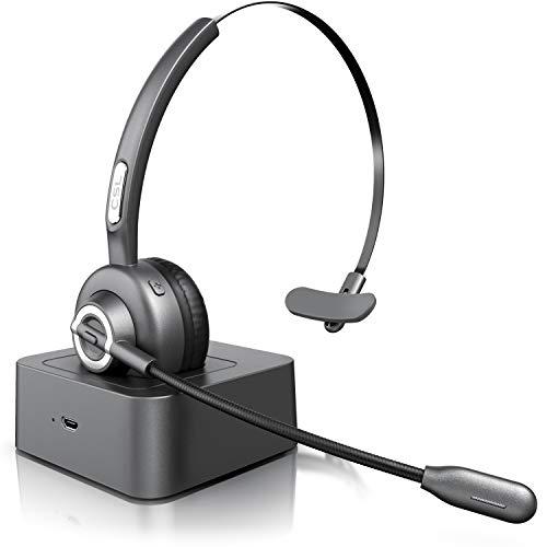 CSL - Bluetooth Headset mit Ladestation - Headset kabellos mit Mikrofon - Wireless - USB Ladeport - Multipoint - mit Rauschunterdrückung - leicht - freisprechen - PC Tablet Smartphone Büro - Cool Grey