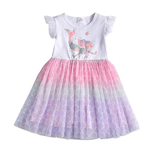 DXTON Vestidos para niñas Vestido de Unicornio Ropa para niños Vestido de Tul Princesa Primavera Verano BlancoSh4982 6T