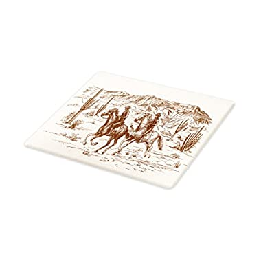 Lunarable Western Cutting Board, Country Theme Hand Drawn Illustration of American Wild West Desert with Cowboys, Decorative Tempered Glass Cutting and Serving Board, Large Size, Cream Umber