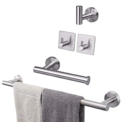 Powstro [5pcs] Juego de toallero de acero inoxidable, soporte de toalla de baño montado en la pared, 1 barra de toalla, 1 toallero de papel, 3 ganchos para albornoz, kit de accesorios de baño plateado