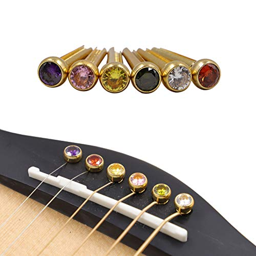 Rayzm Gitarrenbrückenstifte, Messinggitarren-Endstift-Set, 6 PCS Crystal Head-Gitarrensaiten mit festem Kegel, verschiedene farbige Gitarrennagelstifte