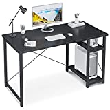 Computer Desk with Storage Shelves, 47 inch Stable Writing Study Desk, Office Desk with Tower Shelf, Black