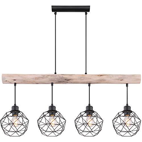 Vintage Pendel Decken Lampe Holz Balken Wohn Ess Zimmer Gitter Hänge Lampe schwarz Globo 15416-4