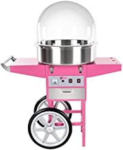 Helloshop26 Machine à Barbe à Papa Professionnelle Diamètre 52 Cm avec Chariot et Coupole de Protection
