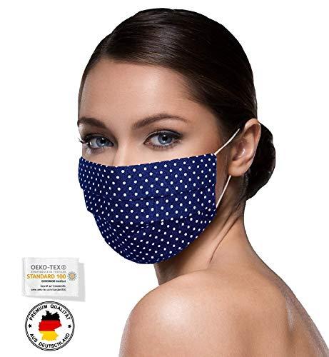 Unisex Stoffmasken Mundschutz Maske Stoff 100% Baumwolle Mund Nasen Schutzmaske mit Motiv Mund und Nasenschutz Maske waschbar DUNKELBLAU kleine Punkte