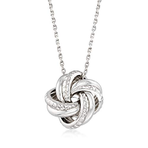 Ross-Simons Italian Sterling Silver Love Knot Pendant Necklace For Women 18, 20 Inch 925 Made in Italy