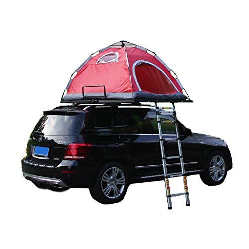 Fire cloud Multifunktions-Faltzelt, selbstfahrendes Reise-Autodachzelt für 2 Personen, Aluminiumhalterung, wasserdichter Sonnenschutz, Gepäckaufbewahrungsrahmen (rot)