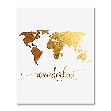 Wanderlust World Map Gold Foil Art Print Travel World Traveler Poster Modern Art Contemporary Metallic Wall Decor 8 inches x 10 inches A4