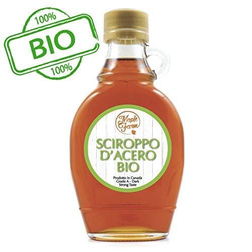 MapleFarm - Puro sciroppo d'acero Canadese BIO Grado A (Dark, Robust taste) - 189 ml (250 g) - Original maple syrup - Puro succo d'acero BIOLOGICO
