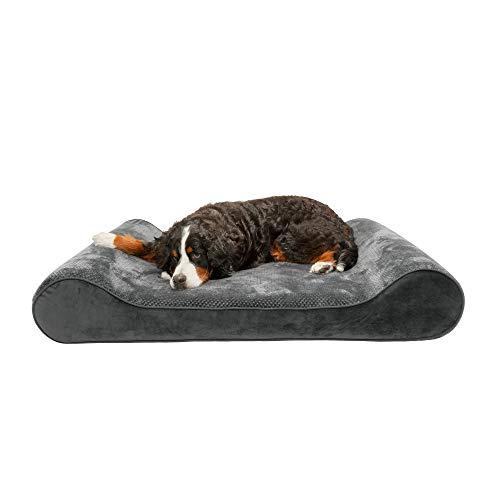 Furhaven Haustier-Hundebett, kühlender Gel-Schaum, Minky Plüsch und Samt, ergonomische Luxus-Liege, Wiege, Matratze, Kontur, Haustierbett mit abnehmbarem Bezug für Hunde und Katzen, grau, riesig