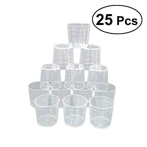 ULTNICE 25 Stück 60 ml Messbecher Kunststoff Mischbecher Labor und Kochen und Malerei Zubehör