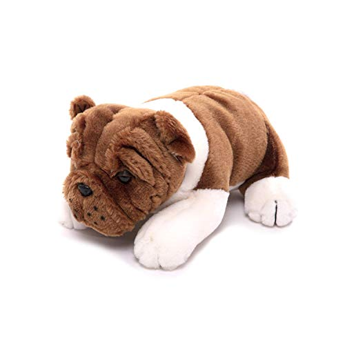 Plushland Realistic Stuffed Animal Toys Puppy Dog, Holiday Plush Figures for Kids, Babies to Play with (Bulldog 10')