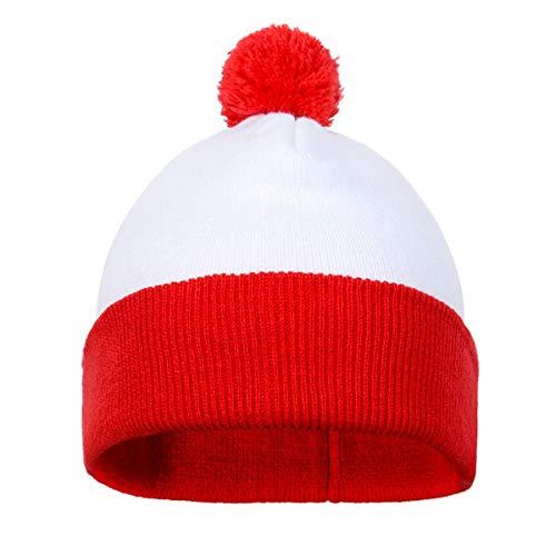 NUWIND Unisex Winter Bommelmütze Rot-weiß Walter Mütze Hut Manschetten Warm Strickmütze für Halloween Weihnachten Party (1 Stück)