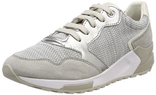 Geox D Phyteam B, Scarpe da Ginnastica Basse Donna, Grigio (White/lt Grey), 39 EU