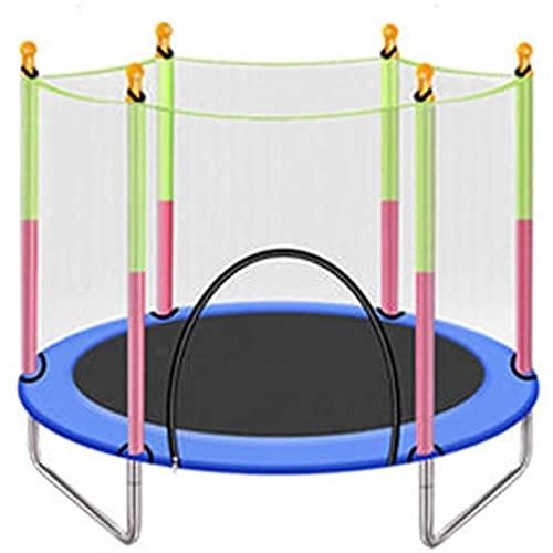 HYDT Trampolín, trampolín para niños de 55 Pulgadas, con Estera de Salto en Forma de Red y Cubierta de Resorte Llena de trampolín (Color : Blue)