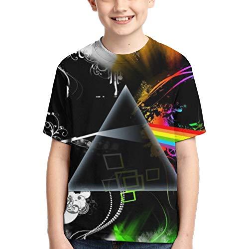 Miwaimao Pi_Nk Fl_Oyd Youth T-Shirts 3D Print Boys and Girls Fashion T-Shirts Short Sleeve Tee Black