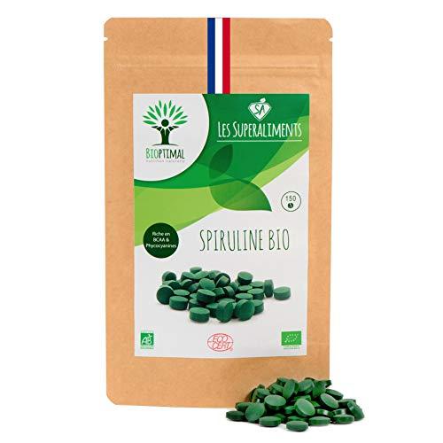 Spiruline bio | 150 comprimés | Complément alimentaire | Superaliment | Energie - Sport BCAA | Bioptimal - nutrition naturelle |...