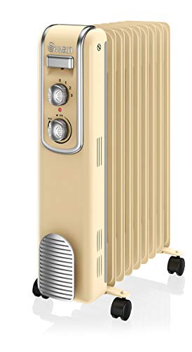 Swan SH60010CN 9 Fin Retro Oil Filled Radiator, Adjustable Thermostat, Handle and Wheels, 2000W, Cream