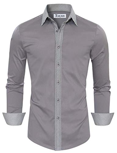TAM WARE Mens Casual Slim Fit Contrast Lining Button Down Dress Shirts TWCS22-LILACGRAY-US M