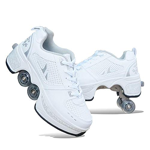 MLyzhe Deformation Roller Shoes Male and Female Skating Shoes Adult Children's Automatic Walking Shoes Invisible Pulley Shoes Skates with Double-Row Deform Wheel,White,39
