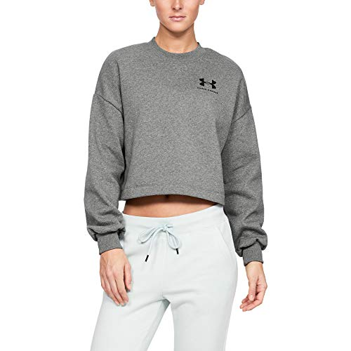 Under Armour Rival Fleece Graphic LC Crew Haut Femme Gris FR : M (Taille Fabricant : MD)