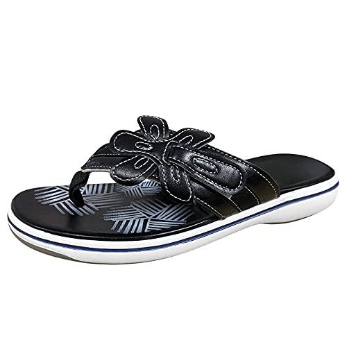 Dam tåseparator blommor tofflor strand strand sandal lätt bekväm sommar fritidsskor, - 1 svart svart - 37 EU