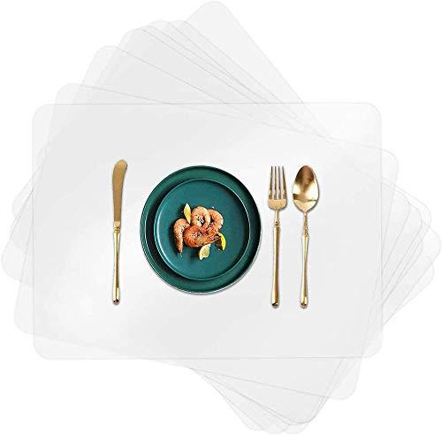 8 manteles individuales de plástico, transparente, para mesa de comedor, resistente al desgaste, resistente al calor