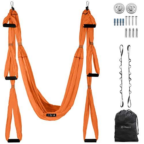 Aerial yoga swing–Ultra fuerte Antigravity yoga hamaca/trapecio/correa para Antigravity yoga inversion ejercicios–2extensiones correas incluidas, Anaranjado