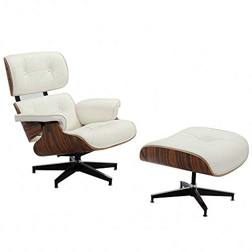 Mid Century Lounge Chair and Ottoman, Modern Classic Design, Top Grain Leather,...