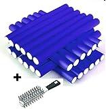 AKTION - Papilotten - Flex-Wickler Set 24 Stck. + Kosmetiktasche - 14 mm blau (von deutschem Friseurbedarf-Fachhändler!) + Vent-Bürste
