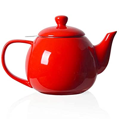 SWEEJAR Porcelain Tea Pot with Infuser and Lid,Teaware with Filter 30 OZ for Tea/Coffee/Milk/Women/Office/Home/Gift (Red)