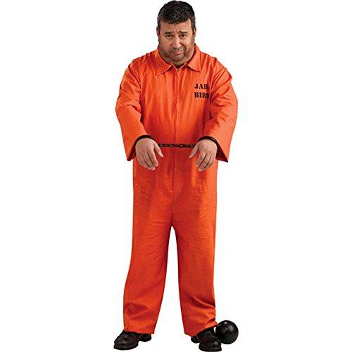 Plus Size Orange Prisoner Jumpsuit Costume, 46 to 52