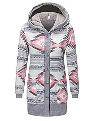 CHICIRIS Long Sleeve Hooded with Drawstring Button Down Plaid Shirts with Pockets for Women