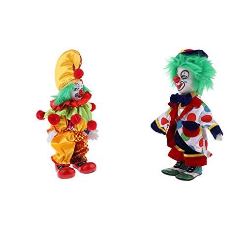 perfeclan Bambola da Clown Vintage in Porcellana da 2 Pollici da 7 Pollici - Lattina Seduta E in Piedi, Bambola Arlecchino Dipinta a Mano, Decorazioni per L'hom