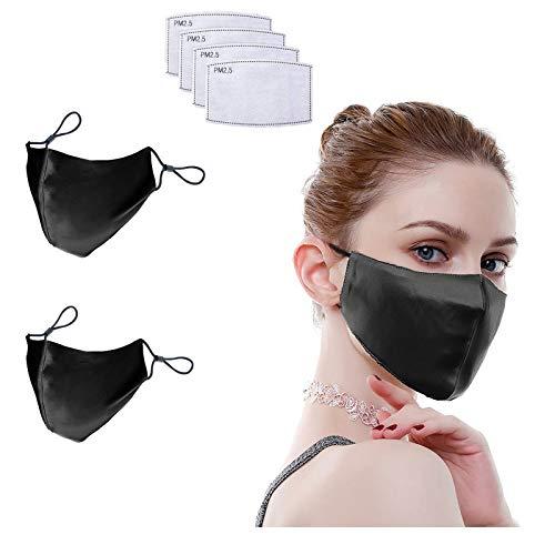 100% Mulberry Silk Face Masks Fashion 19 Momme Silk Mask for Sensitive Women (2 Black)