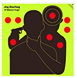 JingZhouYang Reusable Adhesive Shooting Targets Bulk Value Pack, 10 x 10 inch Splatter Target Stickers for Indoor and Outdoor Ranges, Fluorescent Yellow Hit Markers 20pcs