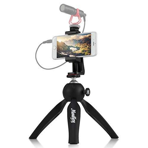 Moukey MPSBK1 Mini Kamera Stativ Handy Stativ mit Handy Halter, Handstativ Tischstativ Kamerastativ Stativständer für iPhone, Smartphone, Vlog, GoPro, Webcam, DSLR-Kompaktkamera