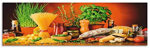 Artland Spritzschutz Küche aus Alu für Herd Spüle 170x50 cm Küchenrückwand mit Motiv Essen Lebensmittel Gemüse Kunst Mediterran Italienisch Bunt S7SM