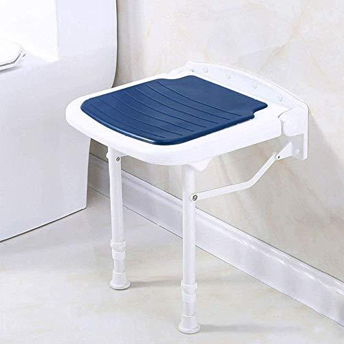 yunyu Asientos de Ducha Plegables, taburetes de baño montados en la Pared con Silla de baño de Seguridad Acolchada Antideslizante para Ancianos/discapacitados |MAX.300Kgs, Azul-47.5Hcm